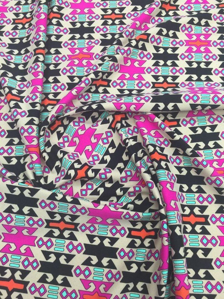 Aztek design on 4 way stretch fabric sol by the yard #Aztekdesign