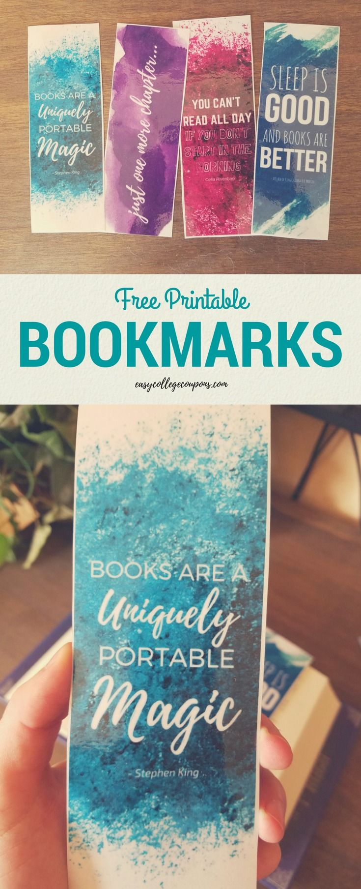 Watercolor books for kids - Free Printable Bookmarks With Quotes About Reading