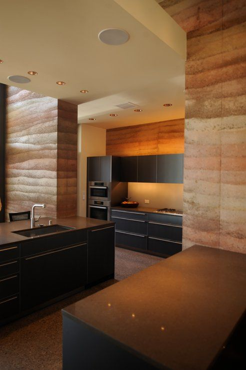 Nice blend of materials including rammed earth walls