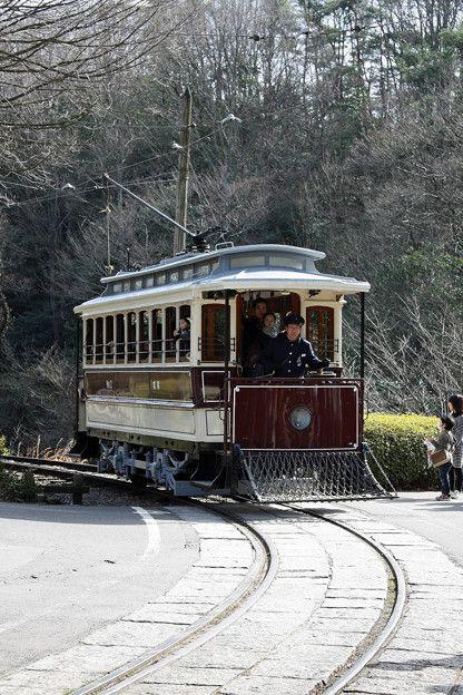 Old Kyoto streetcar in Museum Meiji-Mura, Aichi, Japan 京都市電~明治村にて