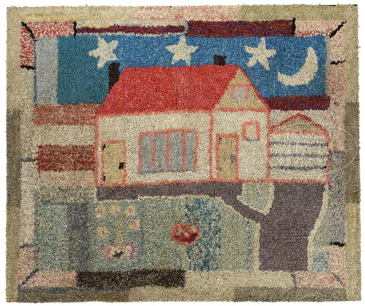 FOLK ART HOOKED RUG OF A HOUSE.First quarter 20th century, American