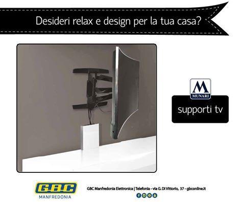 Perché i supporti tv MUNARI sono la soluzione a parete ideale per migliorare il tuo angolo TV?  ▹Prodotto Made in Italy e dal design innovativo ▹Diverse possibilità di regolazione asse TV ▹Facilità di montaggio e smontaggio TV
