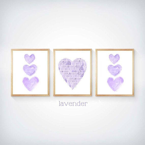 Lavender Wall Decor 8x10 Set of 3 Watercolor by OutsideInArtStudio
