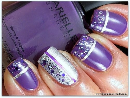 purple and silver glittery nail art did i love purple and glitter and that purple is my fave color lol