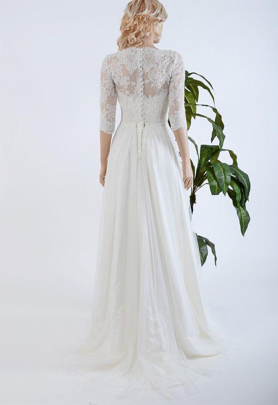 Lace wedding dress with 3/4 sleeve lace bolero by ELDesignStudio