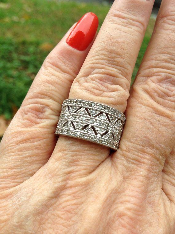 Popular vintage ornate genuine diamond encrusted wide wedding band designer signed sterling ring a on Etsy