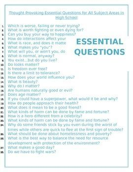 Freebie! I have compiled a list of thought-provoking, elevating, and self-evaluating essential questions that would be ideal for bell ringer activities. This document is a MS Word document, therefore you can add to and edit it at any time. I have used many of these questions with my students, and it has been a great attention grabber each and every time. These questions really help to get the students' minds moving. NEW --- I have now included editable boxes that you can copy and paste the q