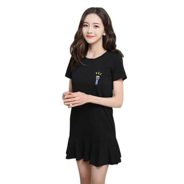 Summer Women Cute Latters Embroidery Short Sleeve Dresses Casual Solid Color Mini A-Line Dress H7 Black XL