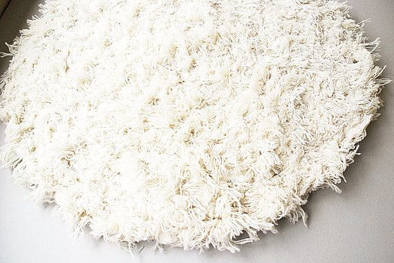 White Fluffy  rug Round rug Hand Woven White rug by MySunsetColor, $32.00