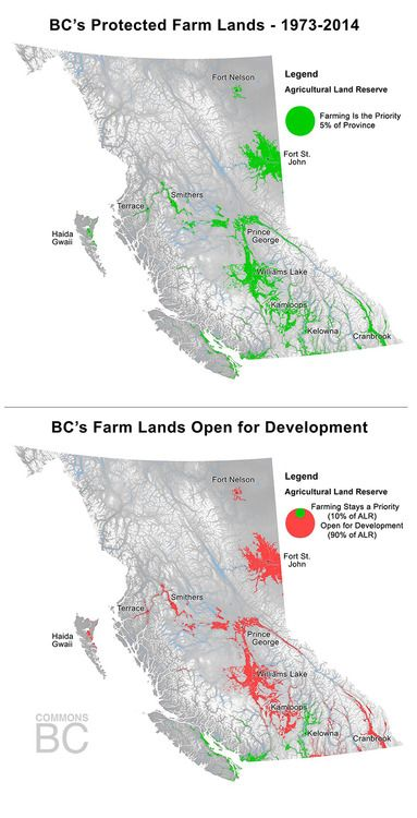 ALR in BC, protected lands and lands open for development.