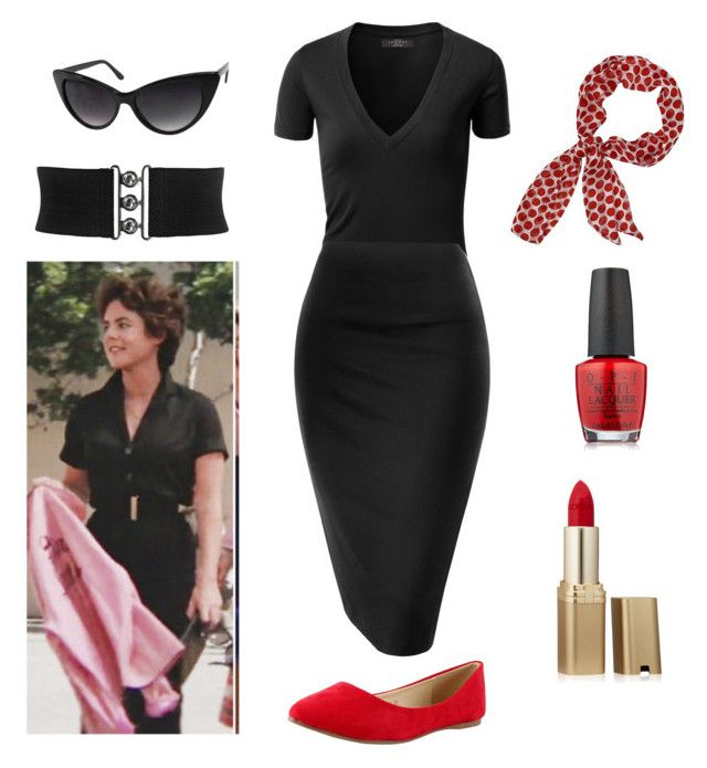 """Rizzo - Grease - Pink Ladies"" by itsafabulouslife ❤ liked on Polyvore featuring OPI and L'Oréal Paris"