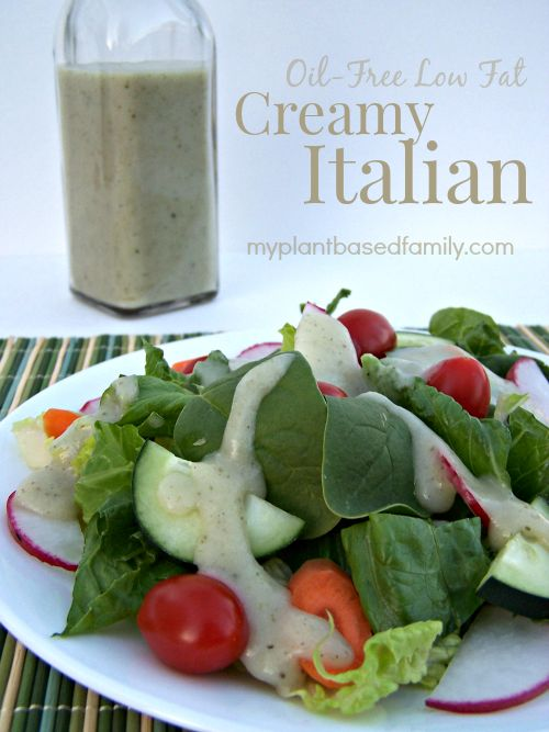 Finally, a Creamy Italian Salad Dressing that is Oil-Free and low fat. It's also Vegan, gluten-free and nut-free. This may be your favorite new dressing.