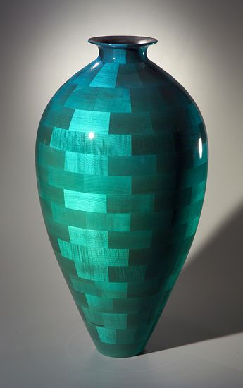 """""""Large Water Jar"""" Wood Vessel Created by Joel Hunnicutt. A free-flowing form in wood. Large, hollow turned vessel of dyed maple, finished with high-gloss lacquer for a smooth, glass-like surface."""