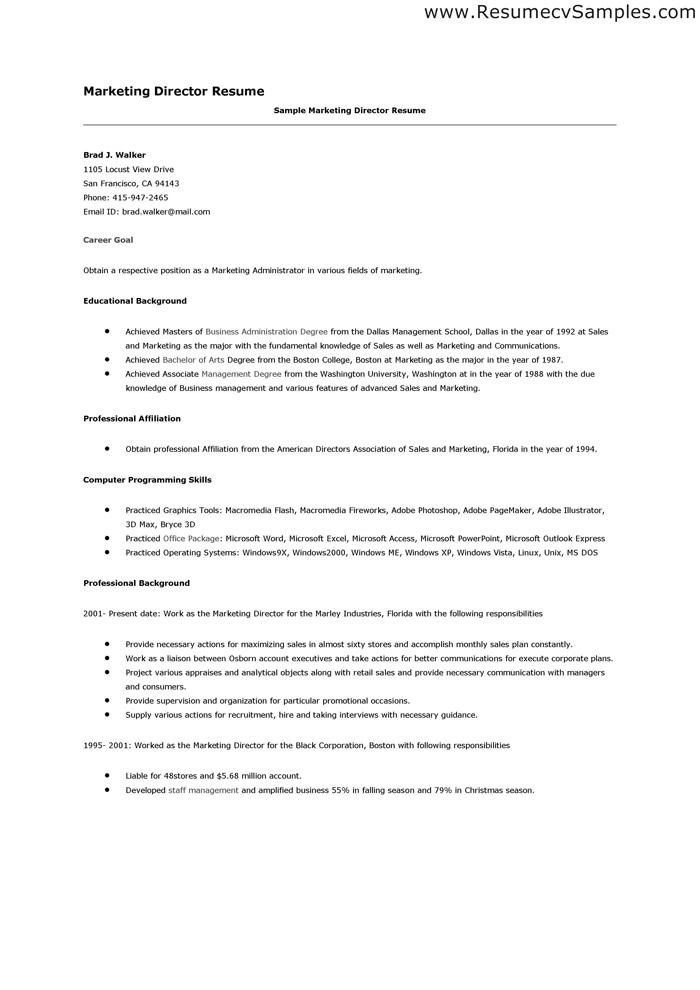 24 best Best Marketing Resume Templates \ Samples images on - sample marketing director resume