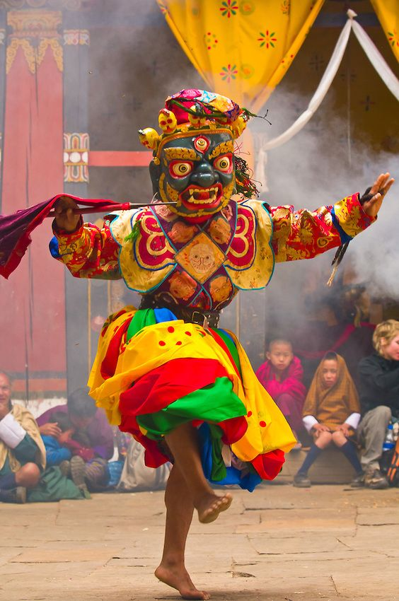Dance of the Eight Kinds of Spirits, Paro Tsechu (festival), Paro Dzong, Paro, Bhutan