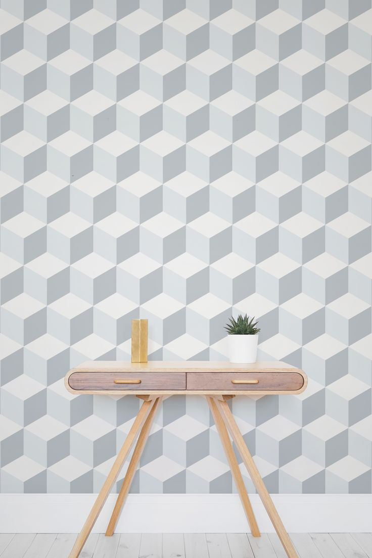 On the lookout for ultra modern wallpaper designs? This 3D geometric wallpaper design brings together blue and grey tones, leaving an overall neutral palette for you to customise your interiors. Perfect for adding character to boring walls and a fun choice for home office spaces.