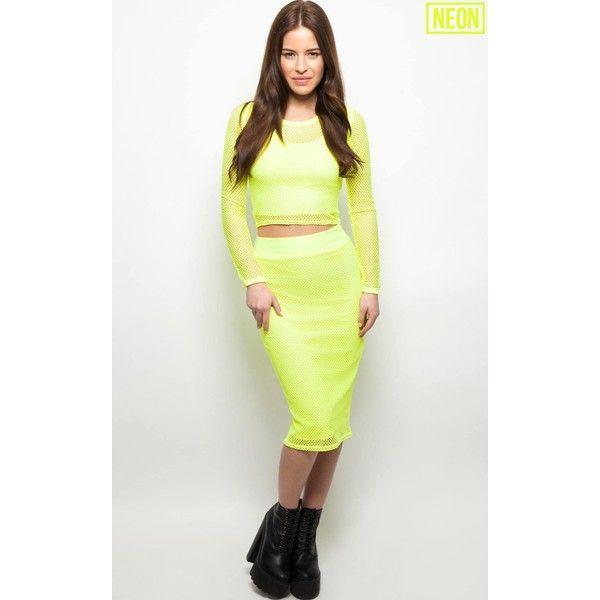 Eleanor Neon Yellow Fishnet Midi Skirt ($6.12) ❤ liked on Polyvore featuring skirts, yellow, yellow skirt, summer midi skirts, neon yellow skirt, yellow midi skirt and white midi skirt