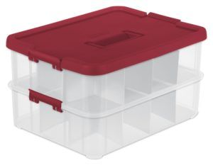 Red Sterilite Adjustable Ornament Storage Box