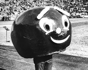 Brutus Buckeye, Ohio State Buckeyes mascot, in the 1960s.