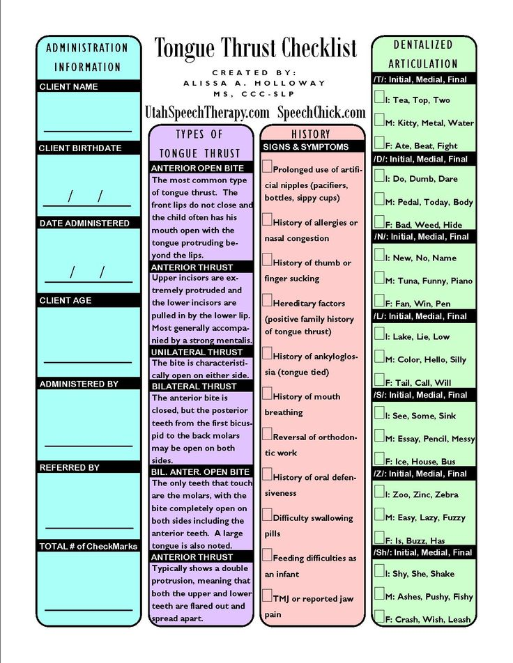 Tongue Thrust Checklist - pinned by @PediaStaff – Please Visit ht.ly/63sNtfor all our pediatric therapy pins #speech #SLP