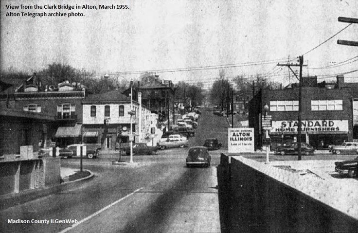 Broadway in Alton, Illinois from the Clark Bridge, March 1955.
