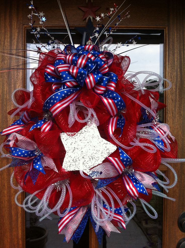 Patriotic Bling Wreath From Southern And Sassy Door Decor And More On Facebook Patriotic