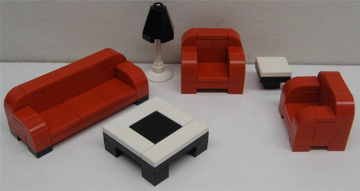 LEGO CUSTOM FURNITURE COUCH 2 CHAIRS 2 TABLES LAMP city town house LIVING ROOM
