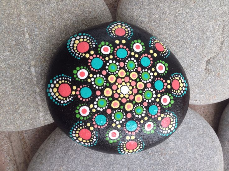 painted stone dots flower