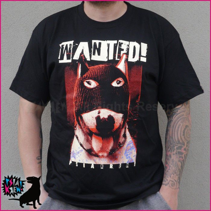 Bull Terrier Wanted hand print T-shirt, dog T-shirt by PSIAKREW on Etsy