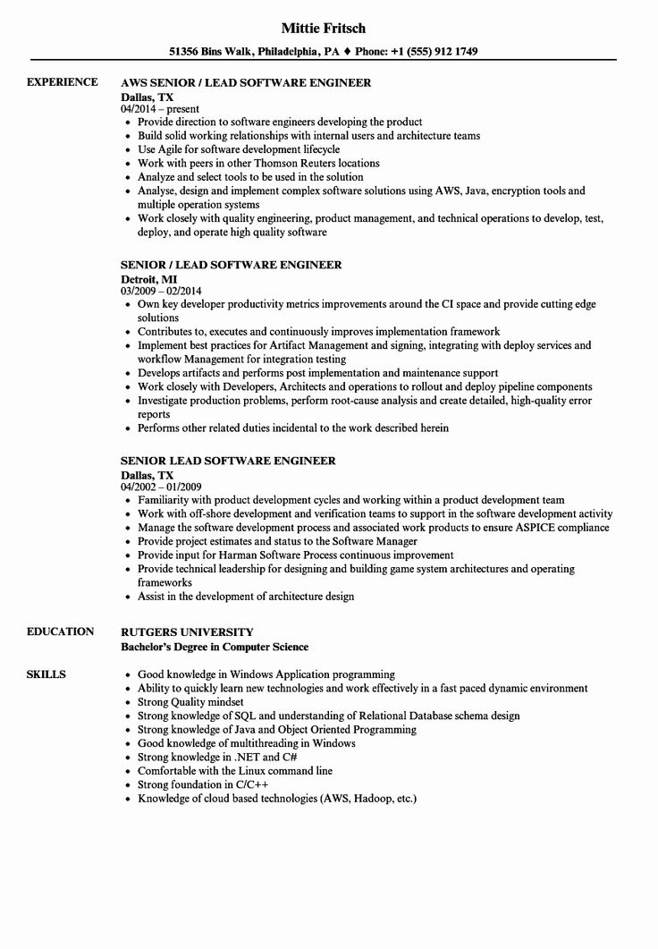 Aws Cloud Engineer Resume Unique Senior Lead software