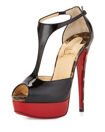 Jilopa Patent Red Sole Pump, Black/Leopard by Christian Louboutin at Neiman Marcus.