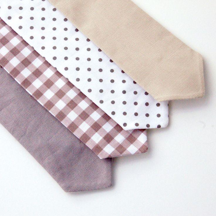 Boy's Neck Tie - Gray, Stone, Greige - Gingham, Polka Dot, Solid, Argyle - Baby, Toddler, Kids by EvaandDell on Etsy https://www.etsy.com/listing/249170516/boys-neck-tie-gray-stone-greige-gingham