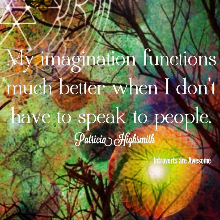 INFJ-My imagination functions better when I don't have to speak to people.