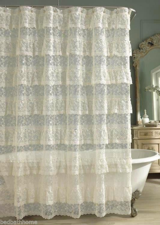 NEW Layered Ruffled Ivory Lace Shower Curtain 10551