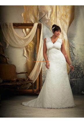 Robe de mariée grande taille empire dentelle perles col V