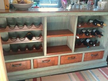 Stained Wine Crate Hardwood Drawers traditional wine cellar