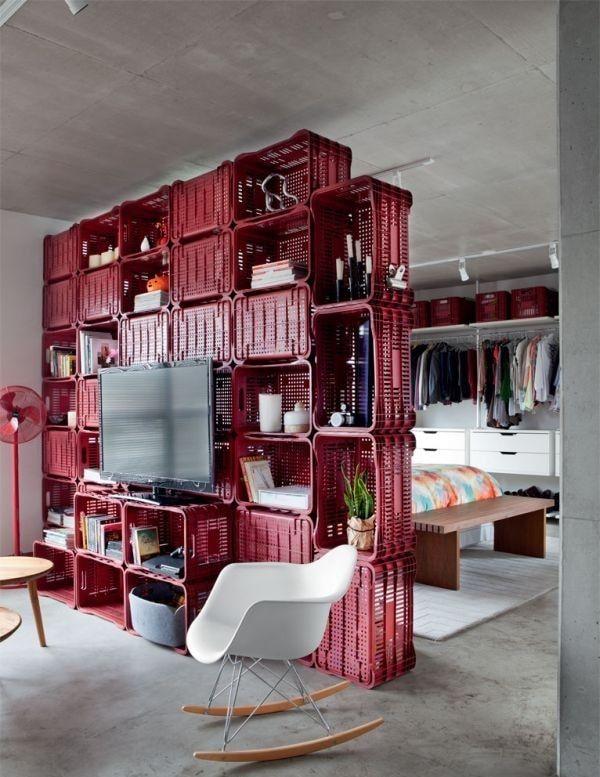 Mueble DIY con cajas de plástico