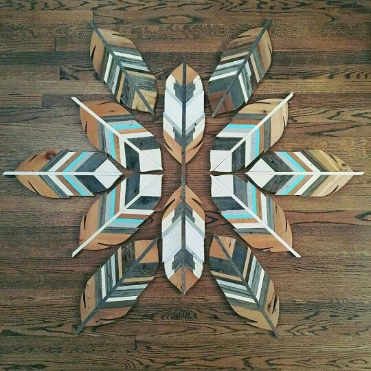 Plywood feathers decor
