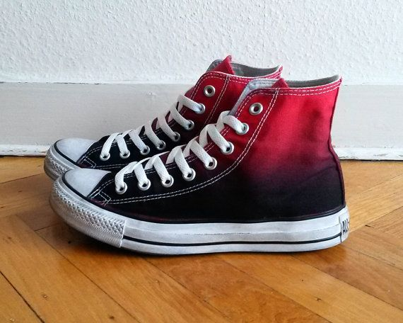 Converse All Star High Tops in Red to Black Ombre