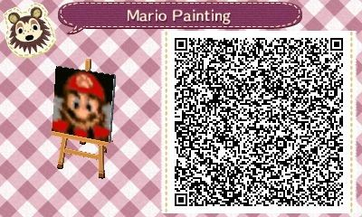Mario painting from luigi 39 s mansion animal crossing qr for Animal crossing mural