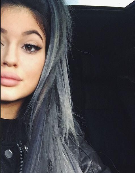 Get the Color: Kylie Jenner's Silver Ombre | Modern Salon black jacket, black high shorts, combat boots, black top