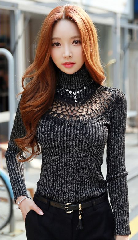 StyleOnme_See-through Lace Turtleneck Ribbed Knit Tee #seethrough #knit #chic #stylish #feminine #girly #grey #black #koreanfashion #seoul #falltrend #kstyle