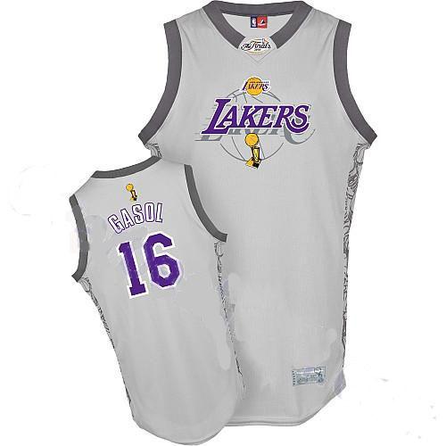 Pau Gasol Jersey, Los Angeles Lakers #16 2010 NBA Finals Commemorative Grey Jersey