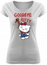 Dámske coolové tričko good bye Kitty. Toto originálne a vtipné tričko, ktoré zobrazuje obesenú legendu Hello Kitty musíte mať. Tričká sú dostupné vo viacerých veľkostiach a farbách. Materiál trička - 100% bavlna. Vzor Good bye Kitty je dostupné aj v UNISEX strihu.