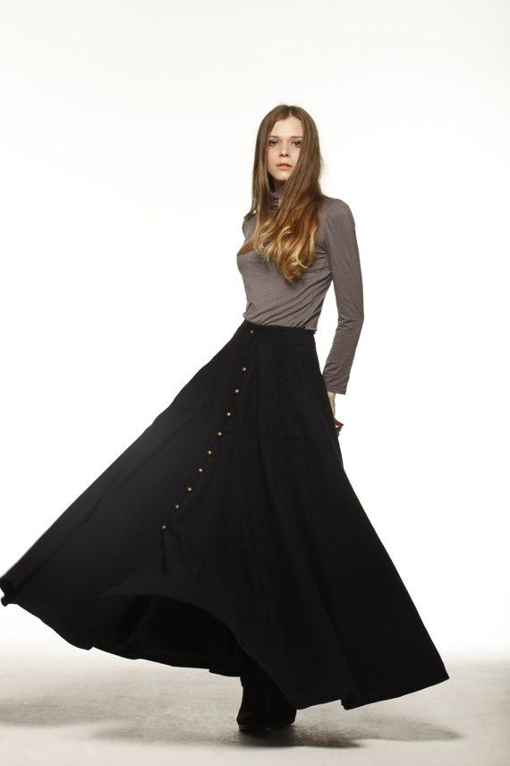 Graceful Black Big Sweep Long Maxi Woolen Skirt  - NC199 sur Etsy, $106.37 CAD