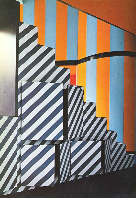 #stripes #stairs #orange #blue #black #white