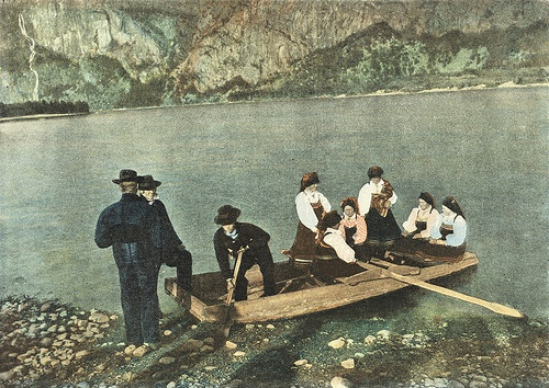 Saetersdalen,Norway. c1890 ....boating to church services.