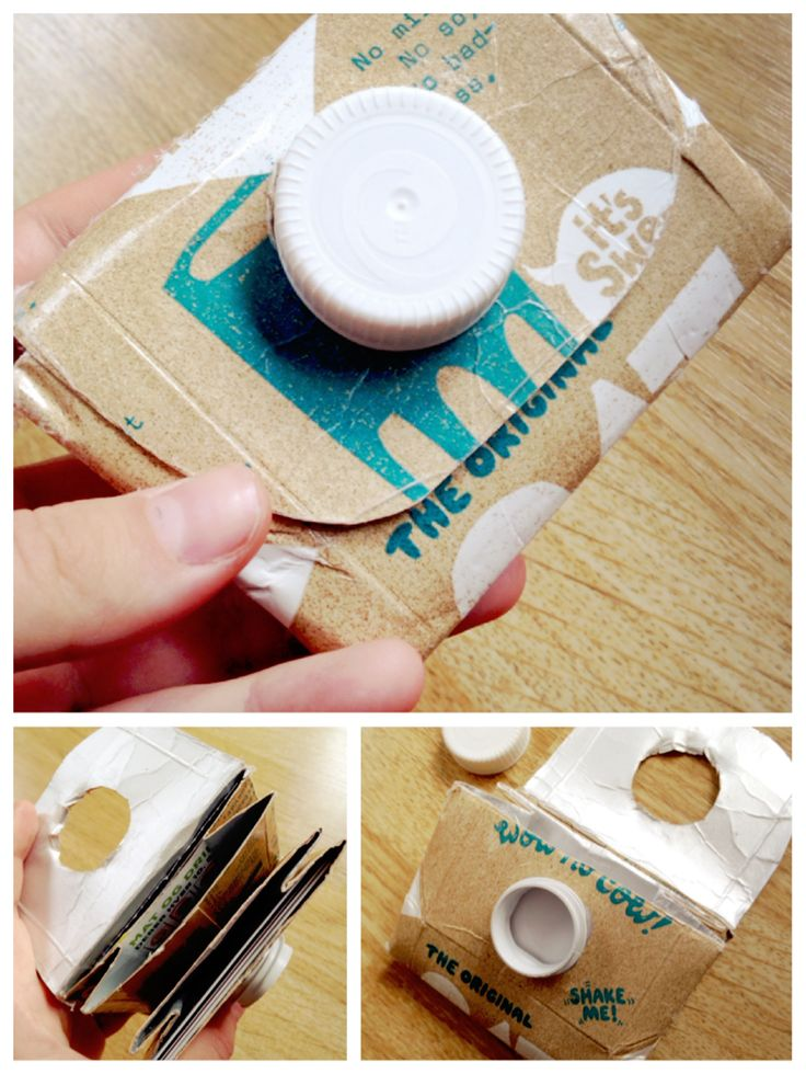Melkekartong lommebok. God plass til både kort og mynter. Resirkuleres etter bruk.