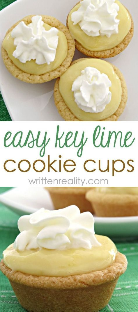 Key Lime Cookie Cups : If you're looking for an easy key lime dessert idea, try these! They're cookie cups filled with a luscious key lime filling that is out of this world delicious.