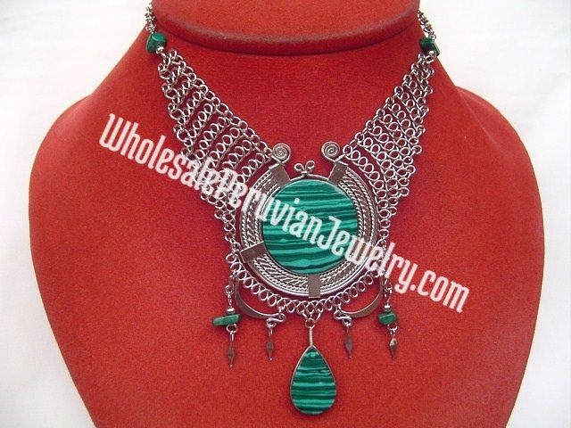 Large green malachite amulet necklace handmade wholesale for Wholesale costume jewelry for resale